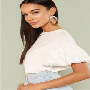 Magdalena White Butterfly Top Size M